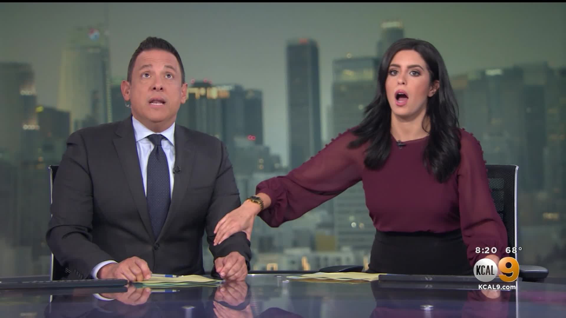 Terrifying moment KCAL/KCBS anchors react to earthquake on set ...