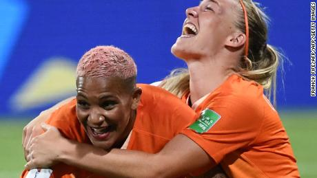 TOPSHOT - Netherlands' players celebrate at the end of the France 2019 Women's World Cup semi-final football match between the Netherlands and Sweden, on July 3, 2019, at the Lyon Stadium in Decines-Charpieu, central-eastern France. (Photo by FRANCK FIFE / AFP)        (Photo credit should read FRANCK FIFE/AFP/Getty Images)