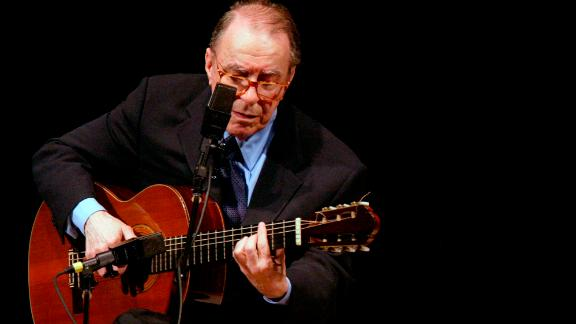 Brazilian composer João Gilberto performs at Carnegie Hall in New York on June 18, 2004.