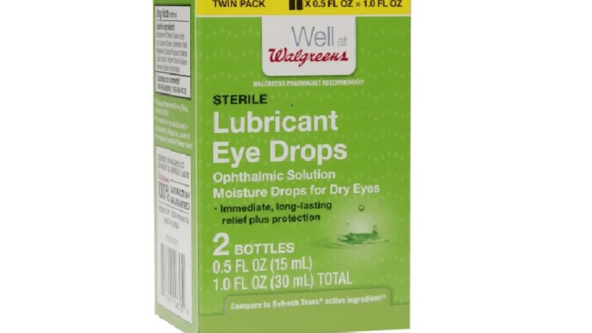 Eye drops, ointments sold at Walgreens, Walmart recalled