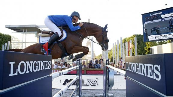 Christian Ahlmann on the way to his fifth victory on the Longines Global Champions Tour.
