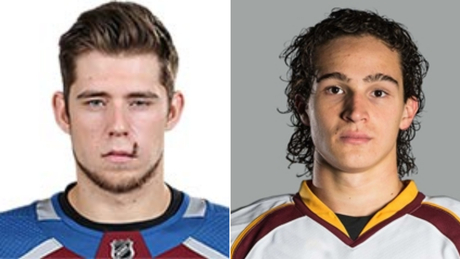 A.j. Greer Colorado of the Avalanche and Sonny Miano of the Cleveland Monsters