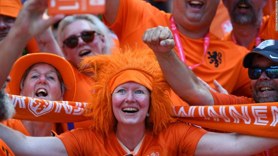 Dutch fans cheer during the pregame warmups.