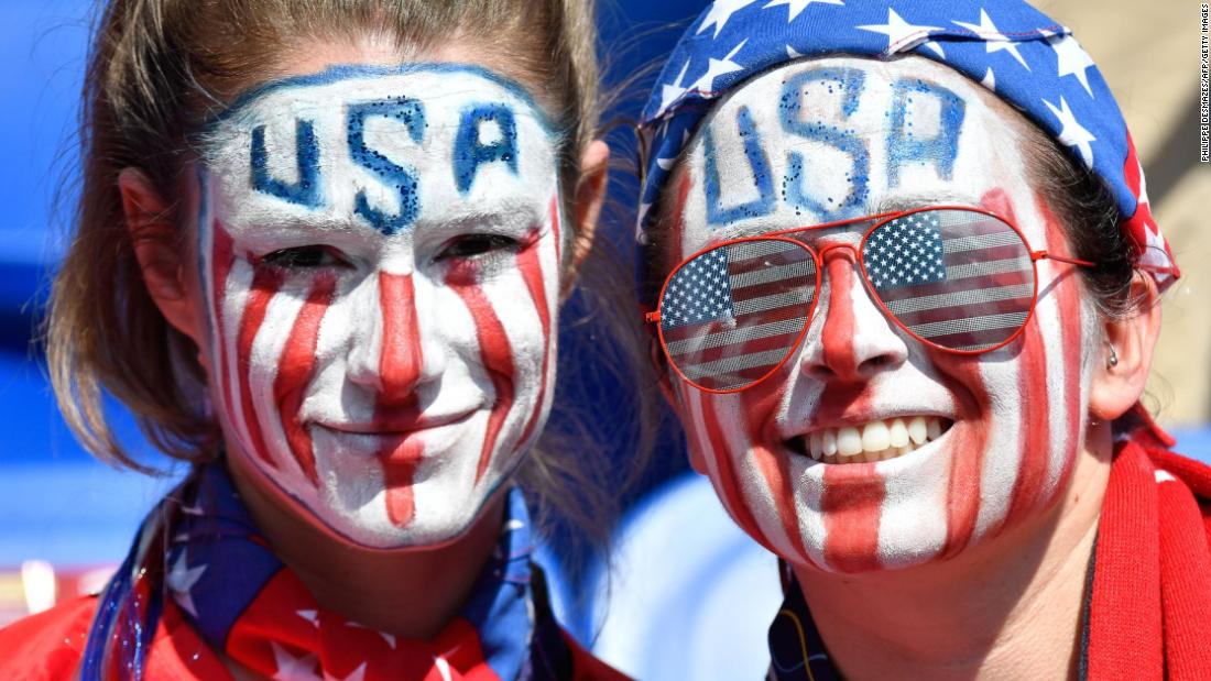 US fans get ready for the match at the stadium.