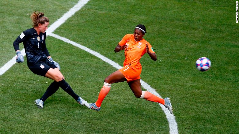 US goalkeeper Alyssa Naeher, left, clears the ball before Beerensteyn could get to it in the first half.