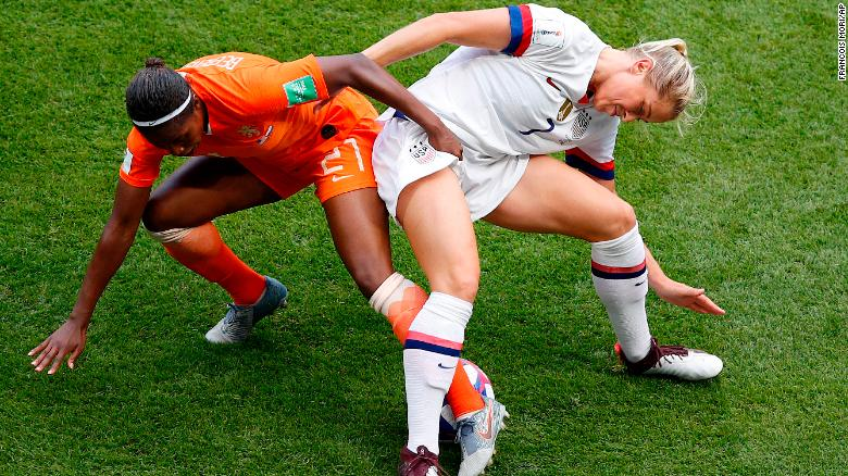 US defender Abby Dahlkemper battles Lineth Beerensteyn for the ball.