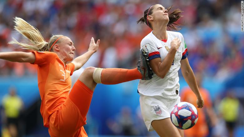 US forward Alex Morgan is fouled by Dutch defender Stefanie Van der Gragt in the second half. After the incident was reviewed by video, the referee awarded the penalty that Rapinoe converted.