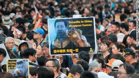 Protesters gathered  near the West Kowloon railway station.
