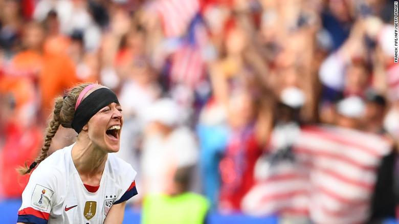 US defender Becky Sauerbrunn celebrates after the final whistle.