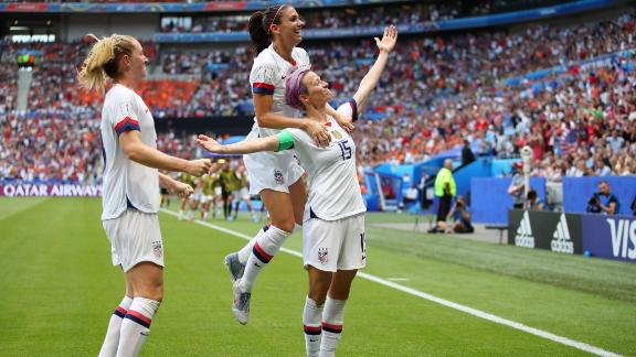 Rapinoe celebrates scoring the opening goal in the 61st minute.
