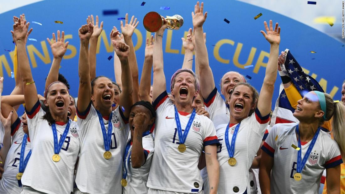 US captain Megan Rapinoe lifts the World Cup trophy after the Americans defeated the Netherlands 2-0 on Sunday, July 7.