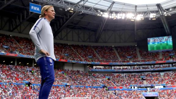 US head coach Jill Ellis watches the action from the sideline. She also coached the Americans to the World Cup title in 2015.