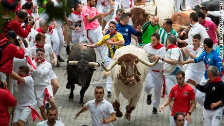 The first bullfight of the San Fermin festival in 2019 in Pamplona, ​​Spain, started Sunday.