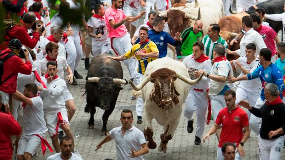 The first bullrun of the 2019 San Fermin festival in Pamplona, Spain, kicked off Sunday.