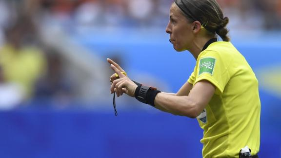 French referee Stephanie Frappart gestures during the FIFA Women's World Cup football final.