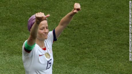 LYON, FRANCE - JULY 07:  Megan Rapinoe of the USA celebrates after scoring her team's first goal during the 2019 FIFA Women's World Cup France Final match between The United States of America and The Netherlands at Stade de Lyon on July 07, 2019 in Lyon, France. (Photo by Robert Cianflone/Getty Images)