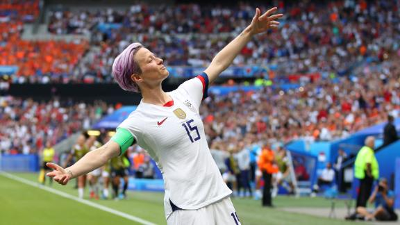 LYON, FRANCE - JULY 07:  Megan Rapinoe of the USA celebrates after scoring her team's first goal during the 2019 FIFA Women's World Cup France Final match between The United States of America and The Netherlands at Stade de Lyon on July 07, 2019 in Lyon, France. (Photo by Richard Heathcote/Getty Images)