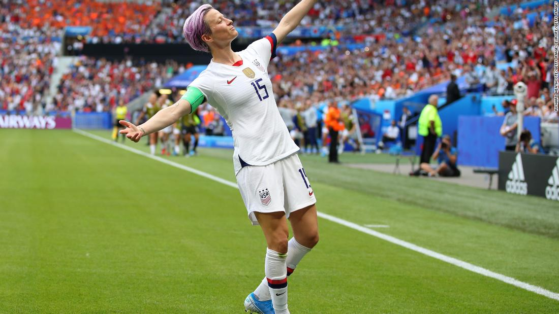 Rapinoe celebrates after scoring the USWNT's first goal in the World Cup final win over the Netherlands.