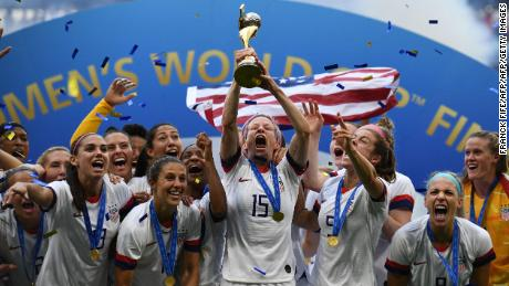 usa 39 s players including forward megan rapinoe c celebrate with the