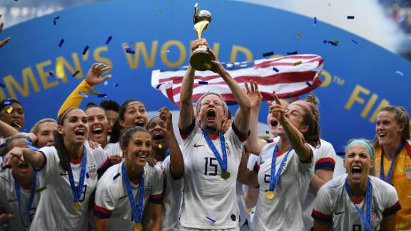 The USWNT celebrate winning the 2019 Women's World Cup.