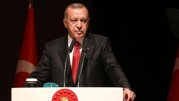 ISTANBUL, TURKEY - JULY 5: President of Turkey Recep Tayyip Erdogan makes a speech as he attends graduation ceremony at National Defense University, on July 05, 2019 in Istanbul, Turkey.  (Photo by Emrah Yorulmaz/Anadolu Agency/Getty Images)