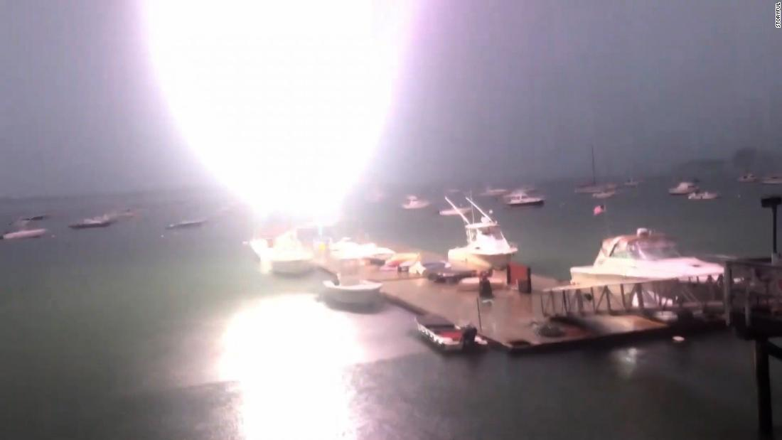 Video captures moment lightning strikes sailboat