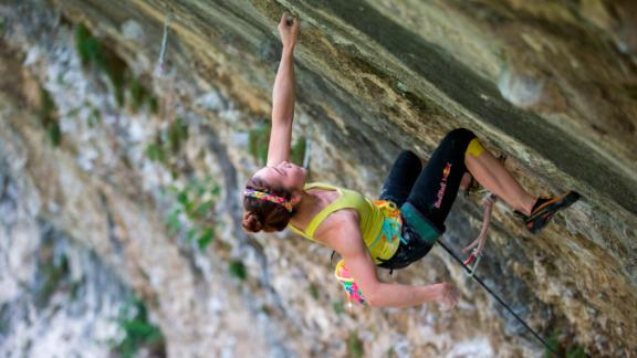 Kim climbing in Arco, Italy, in 2014. After sustaining a finger injury while competing in Switzerland in July 2019, Kim is recovering ahead of South Korea