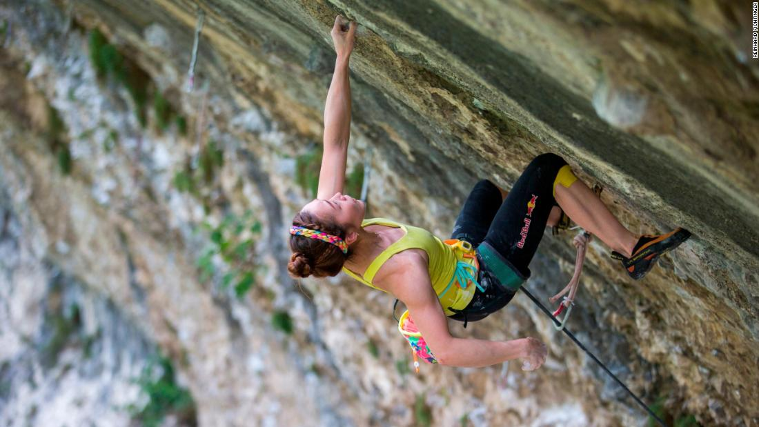 Kim climbing in Arco, Italy, in 2014. After sustaining a finger injury while competing in Switzerland in July 2019, Kim is recovering ahead of South Korea's first Olympic qualifying event, scheduled for August.