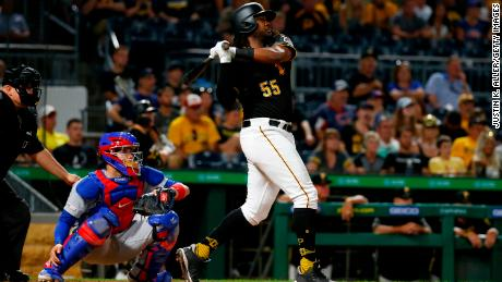 The Pittsburgh Pirates' Josh Bell in action against the Chicago Cubs at PNC Park on July 1, 2019 in Pittsburgh.