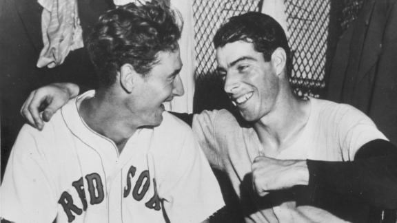 Joe DiMaggio, right, congratulates Ted Williams after Williams' ninth-inning homer won the All-Star Game for the American League in 1941.