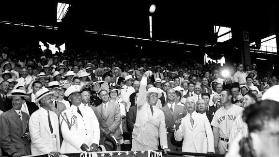 US President Franklin D. Roosevelt throws out the ceremonial first pitch before the All-Star Game in Washington in 1937. Many Presidents have thrown out the first pitch at the All-Star Game.