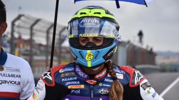 Maria Herrera, the only female racer in MotoE, lining up on the grid.