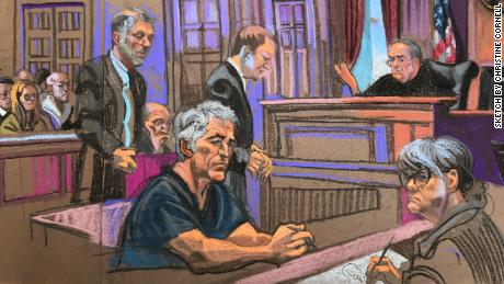 A sketch from Jeffrey Epstein's court appearance in New York on Monday July 8, 2019.