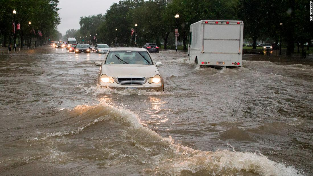 The D C  area got nearly a month's worth of rain in 1 hour