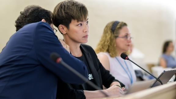 Hong Kong singer Denise Ho attends the United Nations Human Rights Council in Geneva on July 8, 2019.