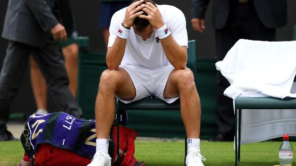 Guido Pella was in disbelief after reaching his first grand slam quarterfinal. He capped play on Wimbledon's Manic Monday by rallying to beat Milos Raonic.