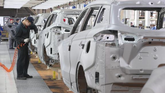 MINSK REGION, BELARUS - MAY 27, 2019: Assembling Geely Atlas cars at the BelGee plant, a joint venture between Belarus and China, leasing the site from the Borisov Plant. Natalia Fedosenko/TASS (Photo by Natalia Fedosenko\TASS via Getty Images)