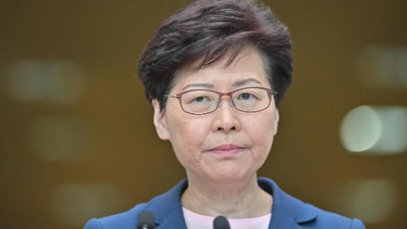 Chief Executive Carrie Lam holds a press conference at the government headquarters in Hong Kong on July 9, 2019.