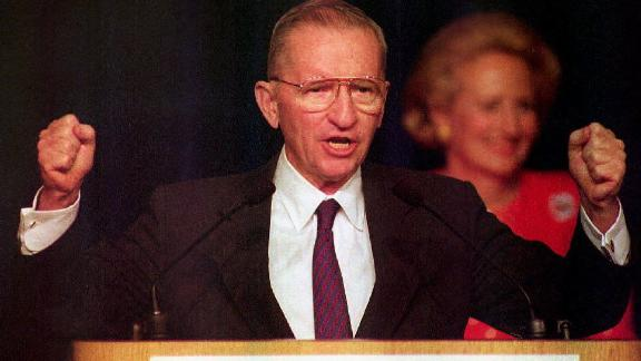 U.S. independent presidential candidate Ross Perot delivers his concession speech to the crowd gathered 03 November 1992 at his election night headquarters after Democrat Bill Clinton won the presidential election. Perot vowed his efforts and organization would go on,TX.  (PAUL RICHARDS/AFP/Getty Images)