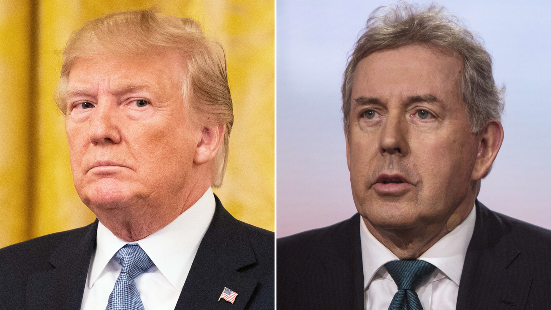 """LEFT: WASHINGTON, D C , UNITED STATES - 2019/07/08: President Donald Trump speaking about """"America's Environmental Leadership"""" in the East Room of the White House in Washington, DC. (Photo by Michael Brochstein/SOPA Images/LightRocket via Getty Images)  RIGHT: Kim Darroch, U.K. ambassador to the U.S., speaks during a Bloomberg Television interview in New York, U.S., on Friday, May 18, 2018. Darroch discussed the state of relations with the U.S., the business impact of U.S. sanctions against Iran, the latest Brexit developments, and the upcoming royal wedding. Photographer: Victor J. Blue/Bloomberg via Getty Images"""