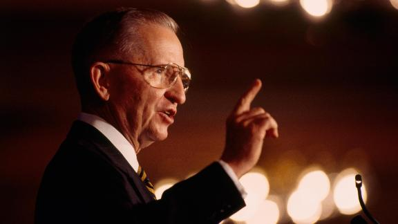 Ross Perot campaigns for president in July 1996. It was the second time he ran as a third-party candidate.