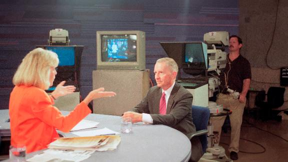 "Judy Woodruff questions Perot during ""The MacNeil-Lehrer NewsHour"" on September 18, 1992. That day, Perot qualified for the Arizona ballot, completing efforts to put his name on all 50 state ballots. He had said he would run only if he could get enough signatures to put him on the ballot on every state."