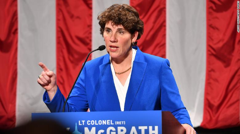 Amy McGrath address supporters after her loss in November 2018 in Richmond, Kentucky. McGrath is running this cycle against Senate Majority Leader Mitch McConnell.