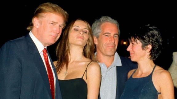 Donald Trump and his girlfriend (and future wife), former model Melania Knauss, financier (and future convicted sex offender) Jeffrey Epstein, and British socialite Ghislaine Maxwell pose together at the Mar-a-Lago club, Palm Beach, Florida, February 12, 2000.