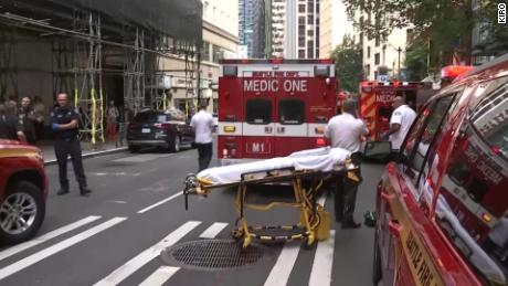 Police say three people were stabbed in downtown Seattle on Tuesday.