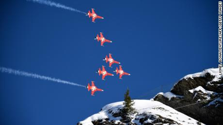 "The Swiss air force aerobatic team ""Patrouille Suisse"" took a wrong turn"