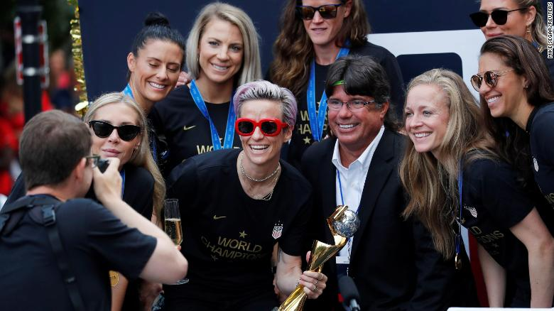 Star Megan Rapinoe was front and center in red sunglasses on one of the floats.