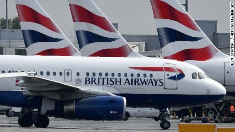 British Airways passenger aircraft are pictured at London Heathrow Airport, west of London on May 3, 2019. - London Mayor Sadiq Khan, along with environmental charities and local councils, on May 1, 2019, lost a court battle to prevent an expansion of Heathrow, Britain's busiest airport. Opponents to the introduction of a third runway at the west London airport cite the negative impacts on noise and air pollution, habitat destruction, transport congestion, and climate change. (Photo by BEN STANSALL / AFP)        (Photo credit should read BEN STANSALL/AFP/Getty Images)