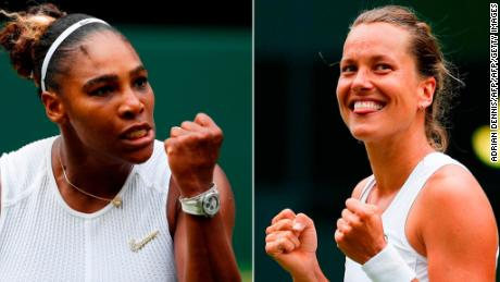 Serena Williams (left) meets unseeded Barbora Strycova in the Wimbledon semifinals.