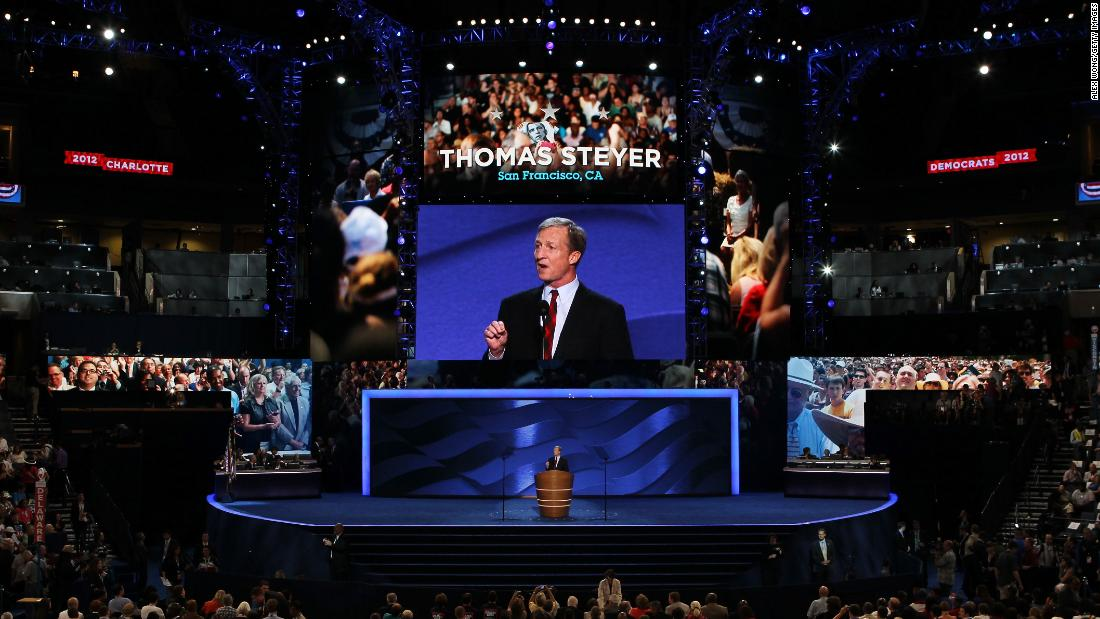 Steyer speaks at the Democratic National Convention in September 2012.